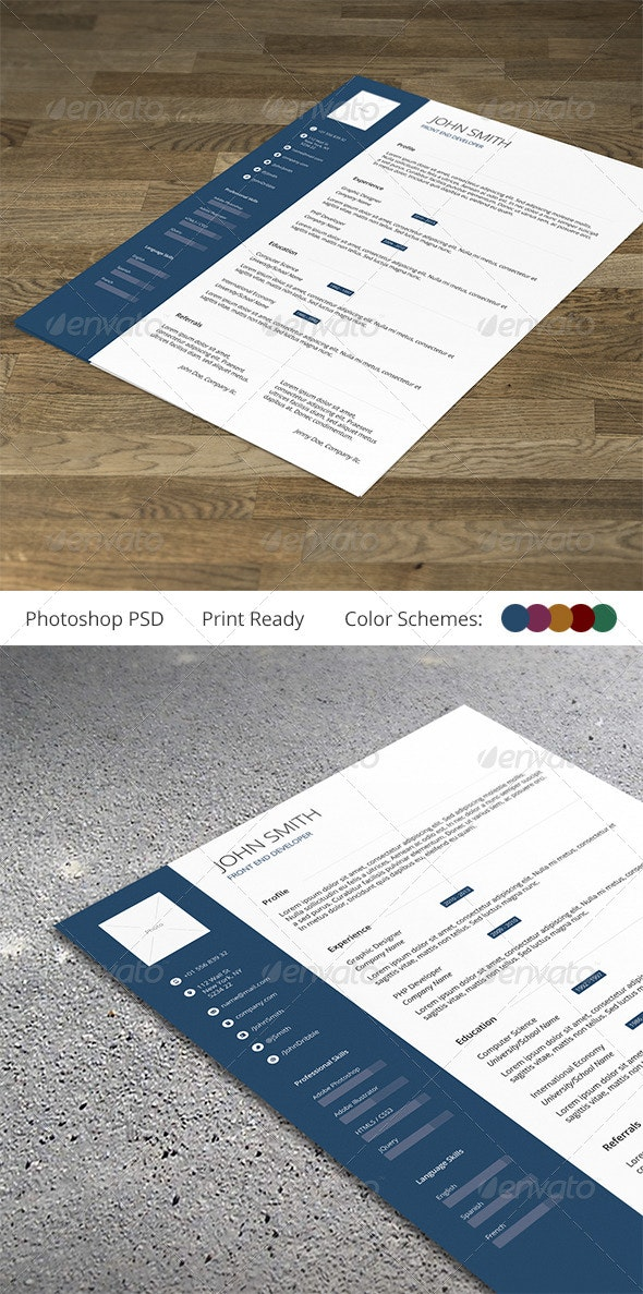 Resume / CV Template - Clean and Professional - Resumes Stationery