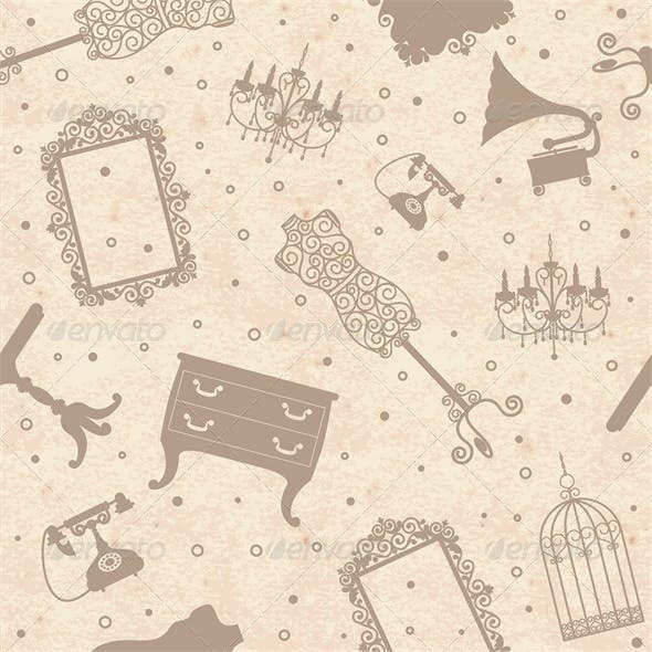 Paper Background with Antique Furniture
