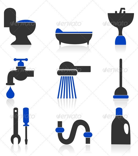 Icons sanitary technicians - Man-made Objects Objects