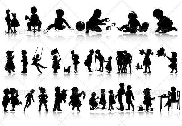 Silhouettes of children - People Characters