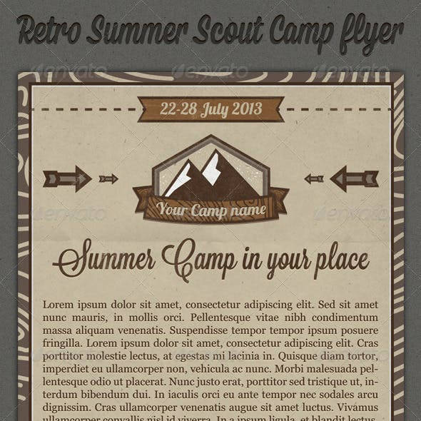 Retro Summer Scout Camp Flyer