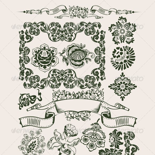 One Color Flowers Vintage Clip-Art