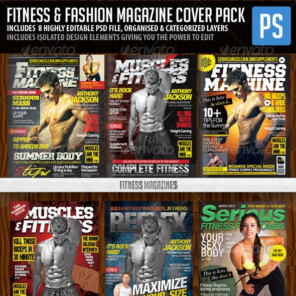 Fashion Magazine Covers And Fitness Magazine Covers Graphics Designs Template