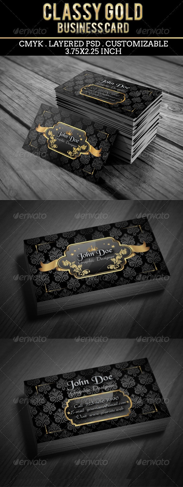 Classy Gold Business Card - Business Cards Print Templates