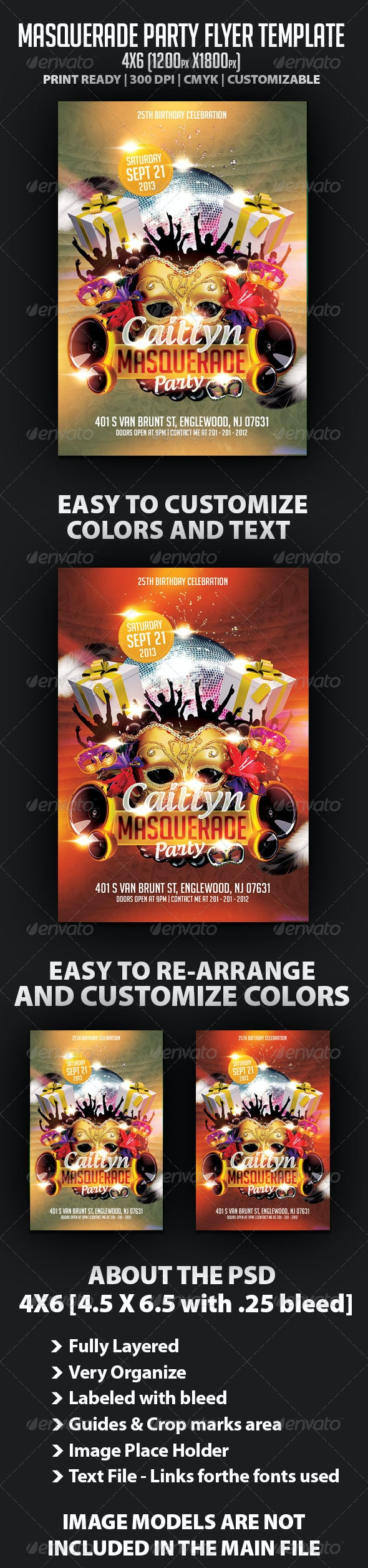 Masquerade Birthday Party Flyer Template - Clubs & Parties Events