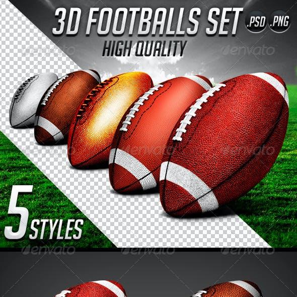 3d Footballs Set