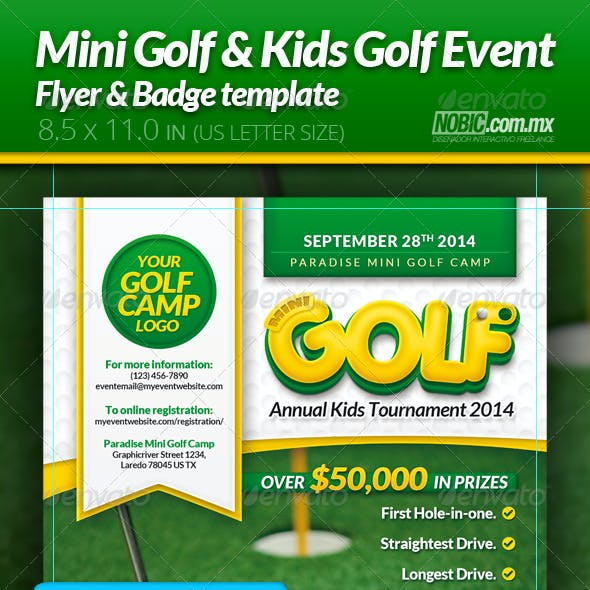 Mini Golf and Kids Golf Flyer and Badge Template