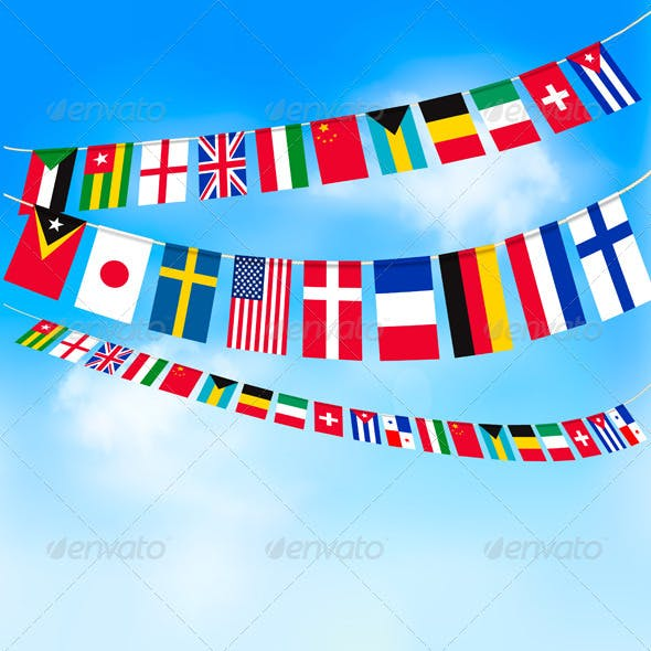 Background with World Bunting Flags and Blue Sky