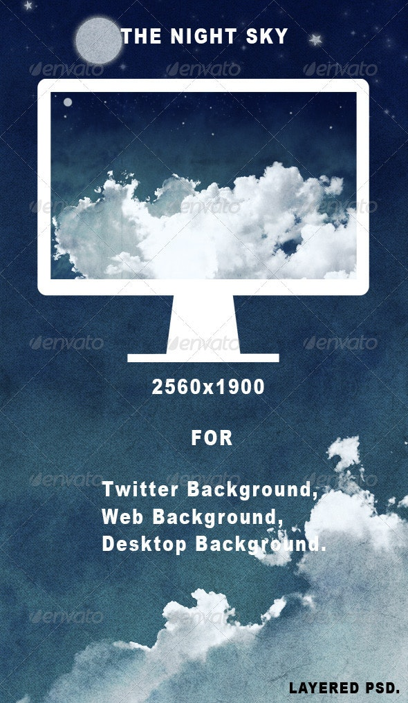 -The Night Sky- Clouds Background - Backgrounds Graphics