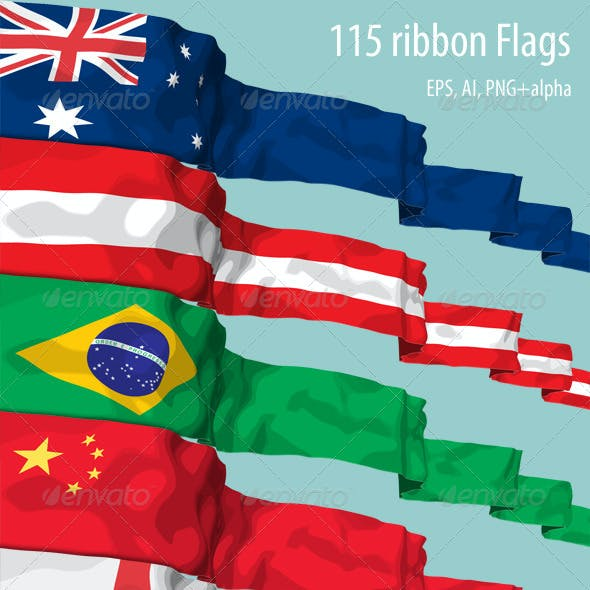 115 Ribbon Flags in Vector