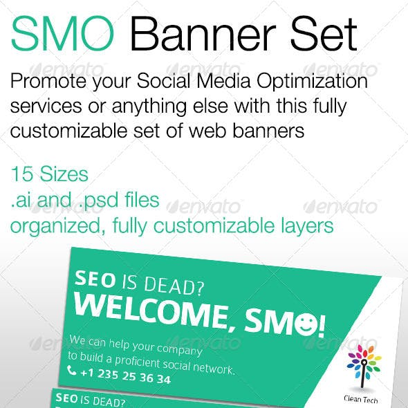 SMO (Social Media Optimization) Banner Set
