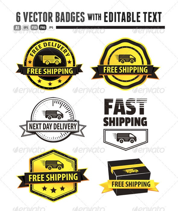 Yellow Free Shipping Badges - Retail Commercial / Shopping