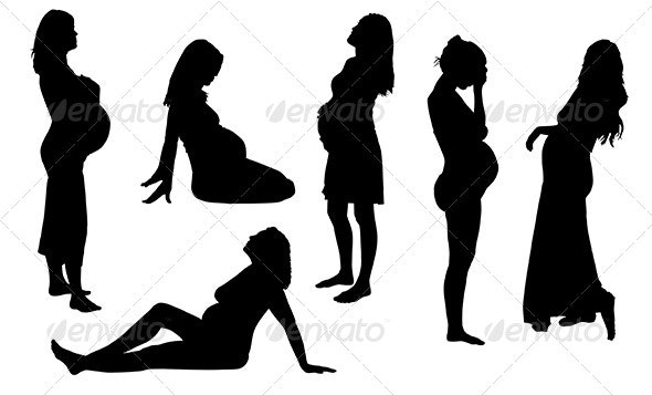 Pregnant Woman Silhouette - People Characters