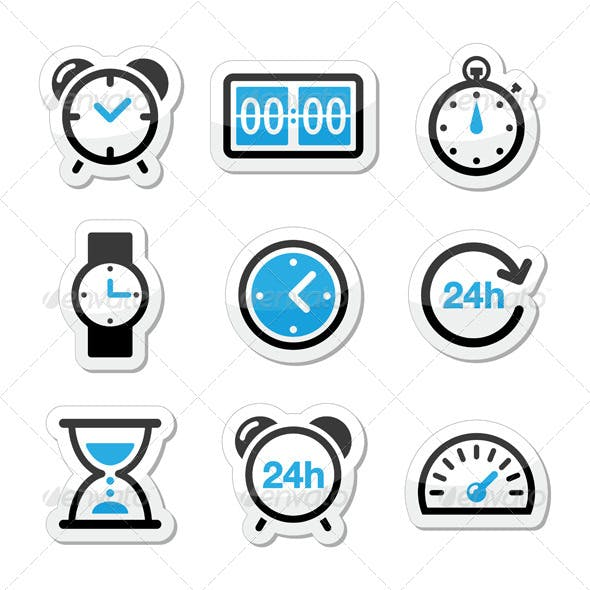 Time Clock Vector Icons Set