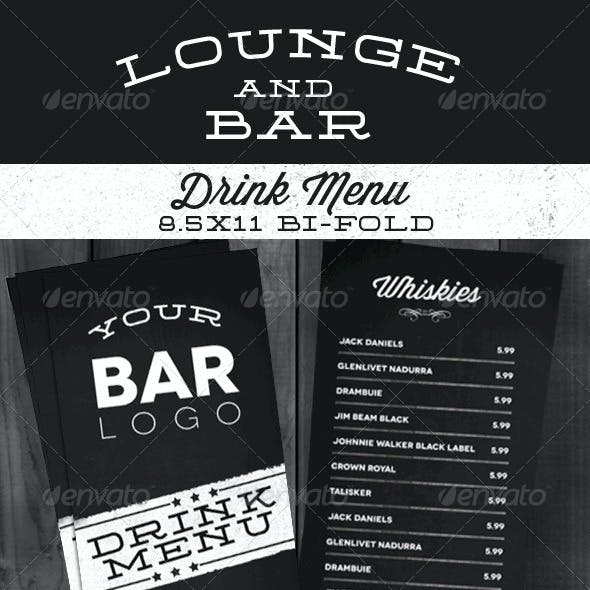 Lounge Bar Drink Menu (Modern)
