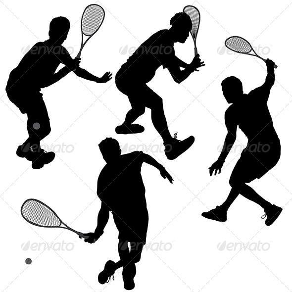Squash Players Silhouette