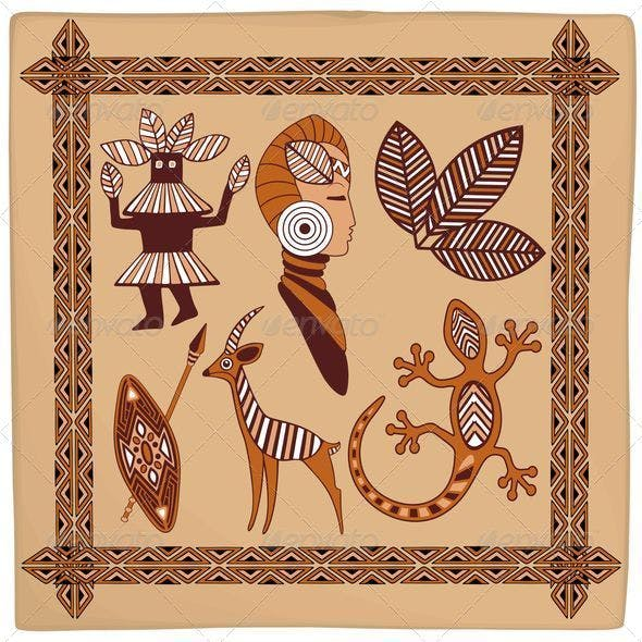 Africa Symbolic Ethnic Art Design on Leather