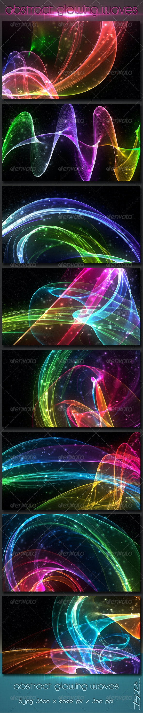 Abstract Glowing Waves - Abstract Backgrounds