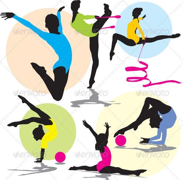 Silhouettes rhythmic gymnastics - People Characters