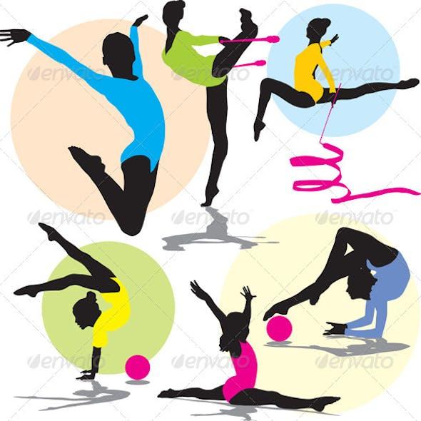 Silhouettes rhythmic gymnastics