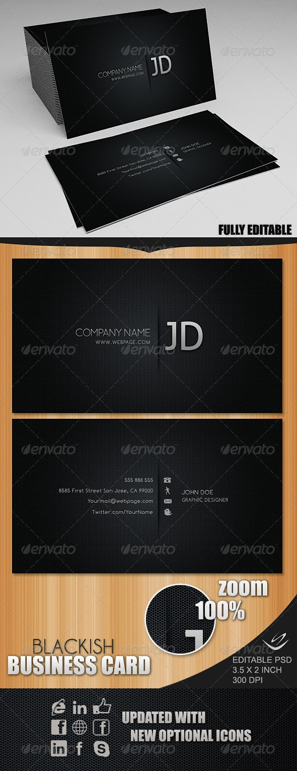 Blackish Business Card - Corporate Business Cards