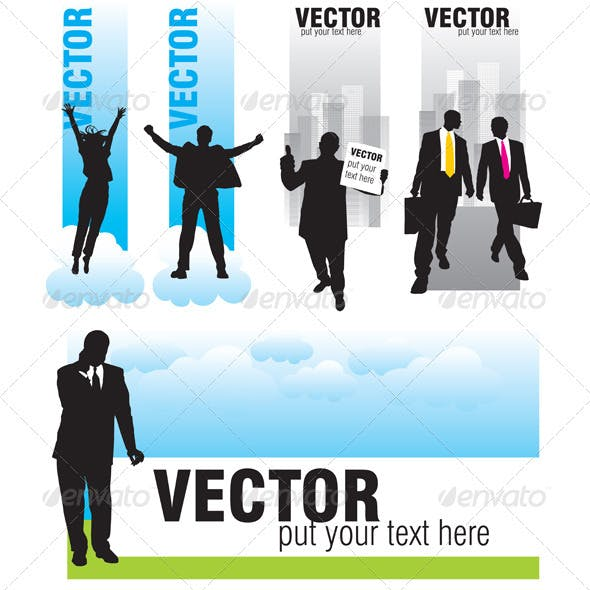 Banners with silhouettes of businessmen