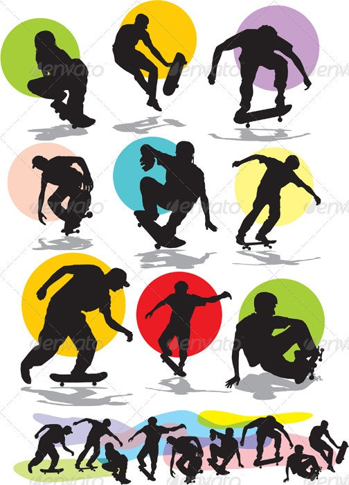 skaters silhouettes - People Characters