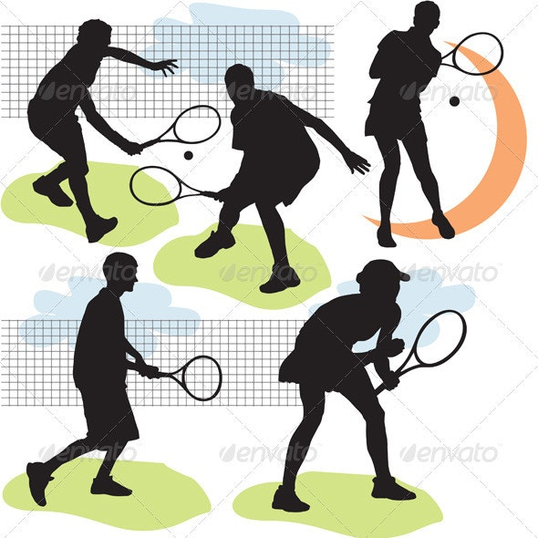 Tennis silhouettes - People Characters