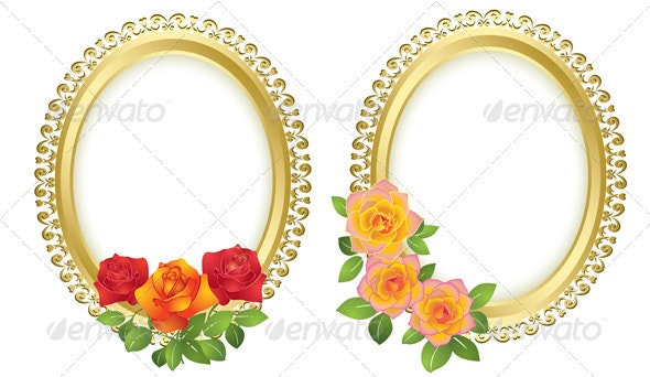 Oval golden frames with roses - vector  - Borders Decorative