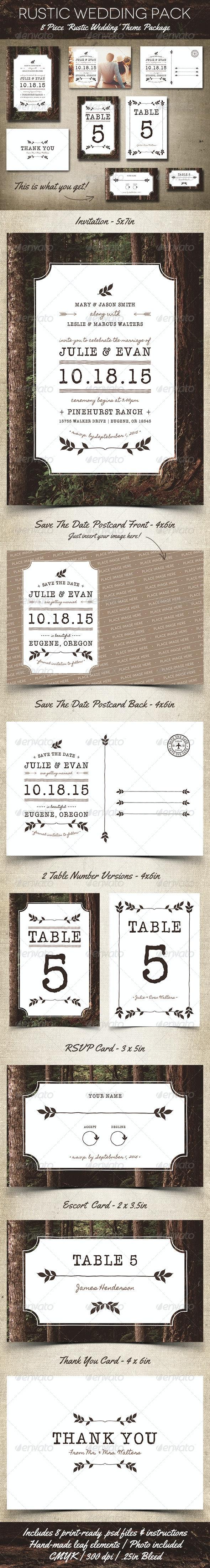 Rustic Wedding Pack - Weddings Cards & Invites