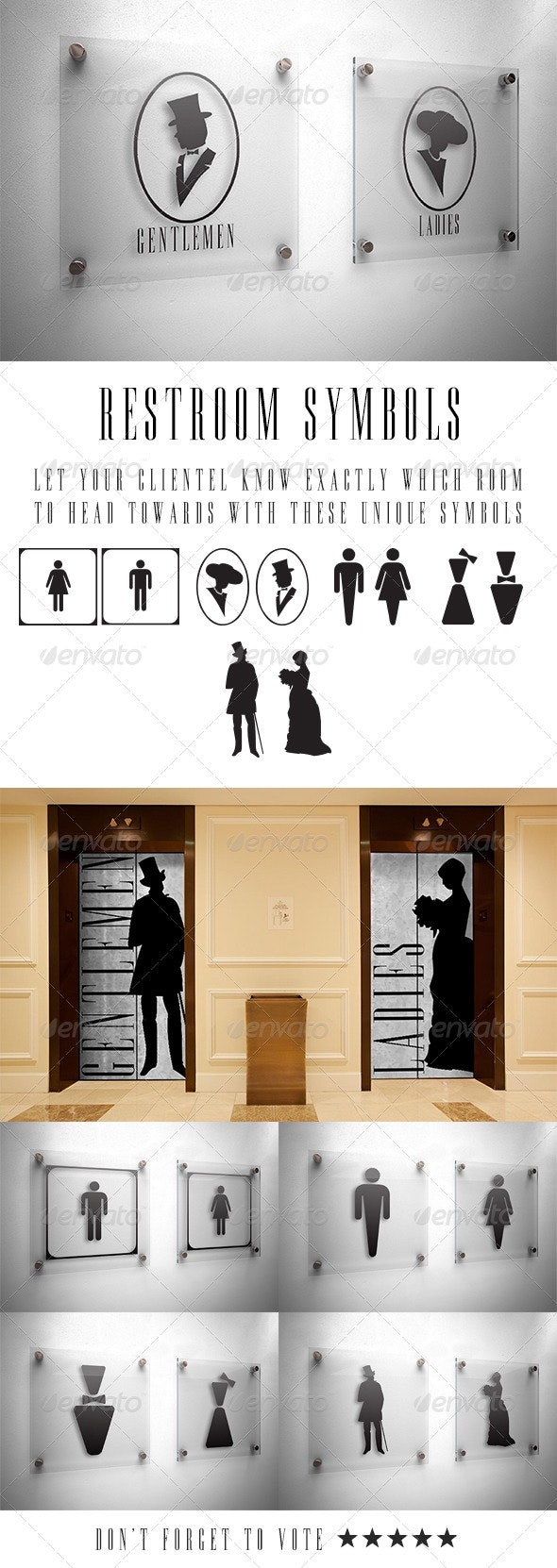 Restroom Vector Symbols - People Characters