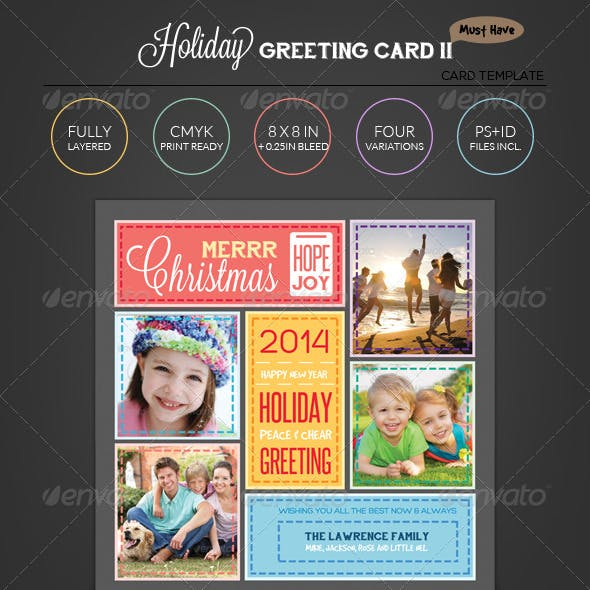 Stitched Love- Holiday Greeting Photo Collage Card