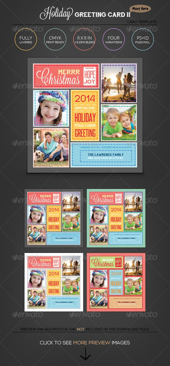 Stitched Love- Holiday Greeting Photo Collage Card - Holiday Greeting Cards