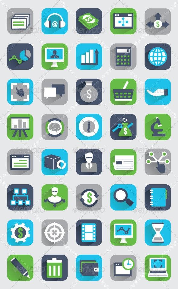 Set of Flat Analytics and Statistics Icons  - Media Icons