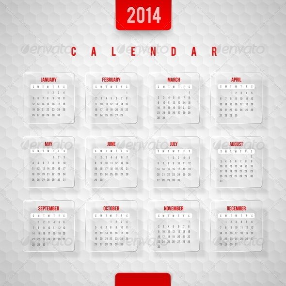 Vector Design Template -  Calendar of 2014 - Miscellaneous Characters