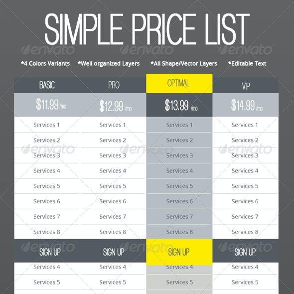 Simple Web Price List Set