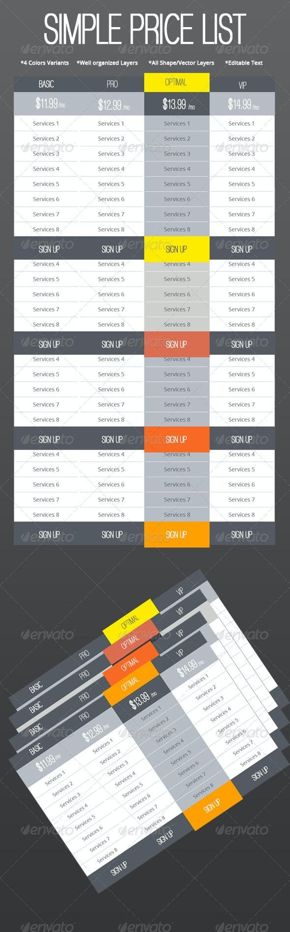 Simple Web Price List Set  - Tables Web Elements