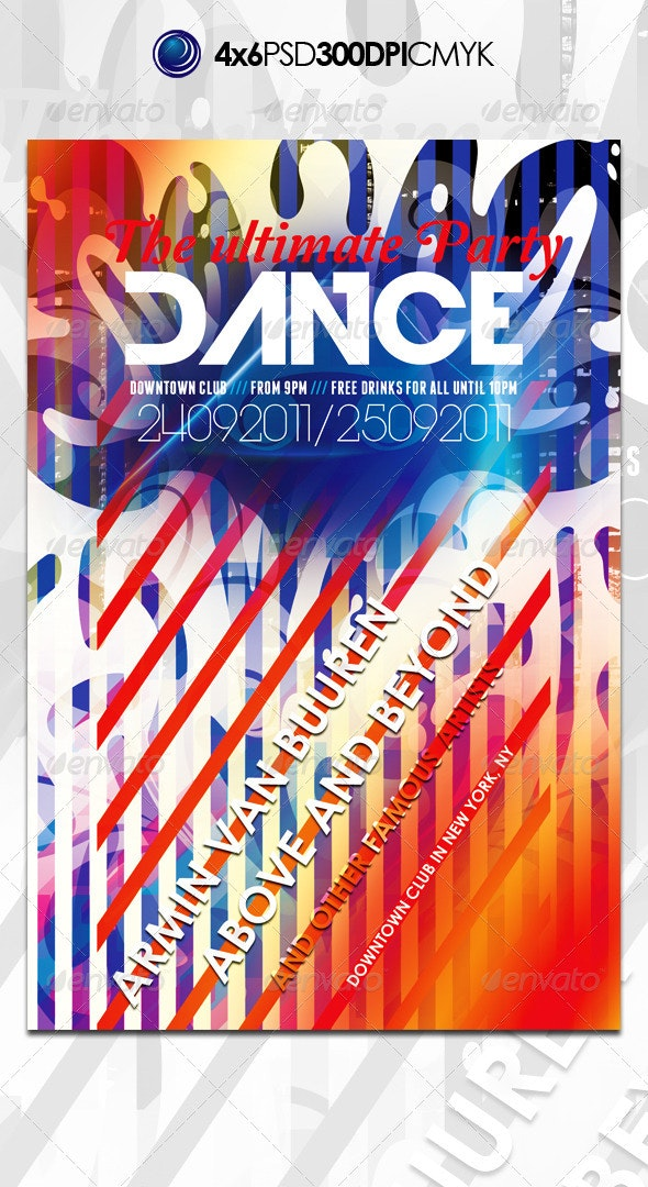 Vibrant Colorful Trance Music Flyer Template - Clubs & Parties Events