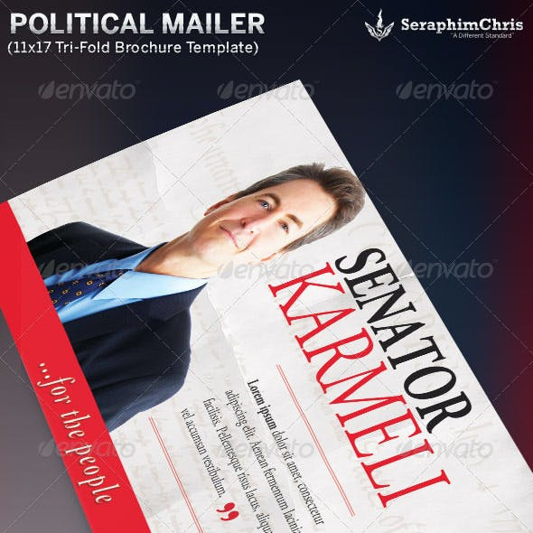Large Political Tri-Fold Brochure Mailer Template