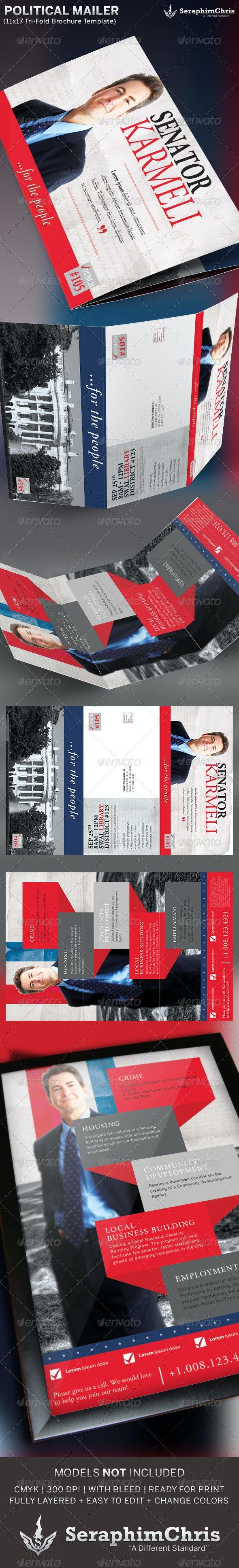 Large Political Tri-Fold Brochure Mailer Template - Corporate Brochures