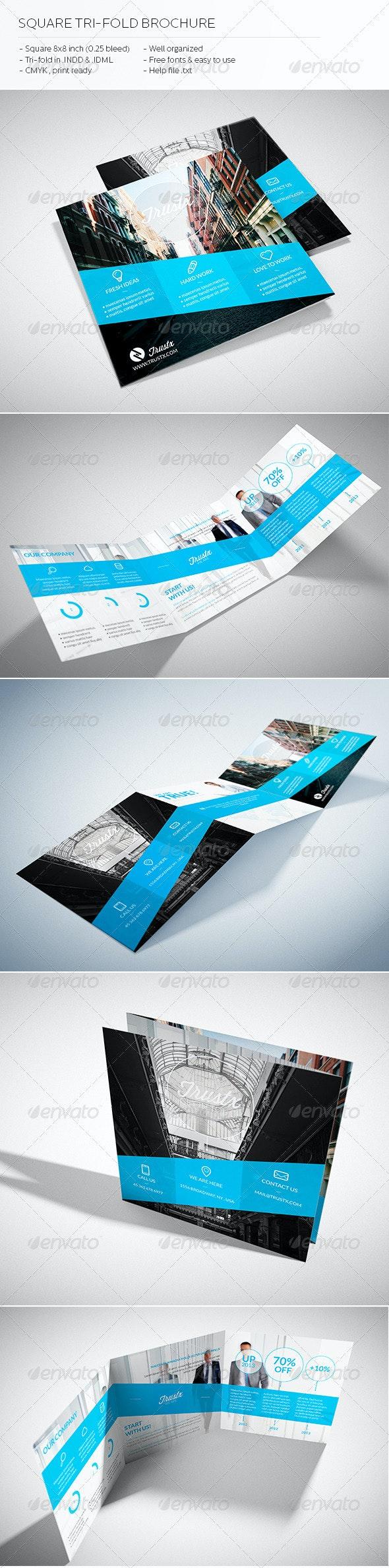 Trustx - Square Tri-fold Brochure - Brochures Print Templates