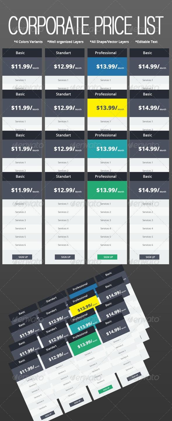 Corporate Web Price List Set  - Tables Web Elements
