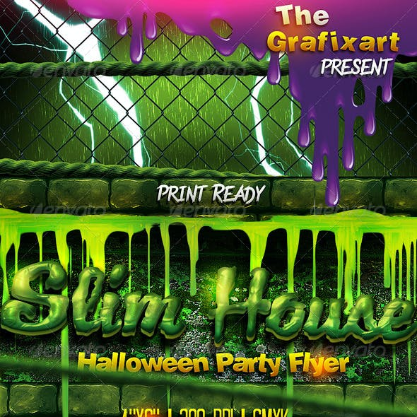 Slime House Halloween Party Flyer