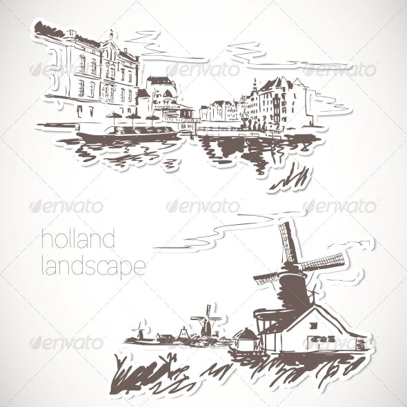 Holland Hand Drawn Landscape in Vintage Style
