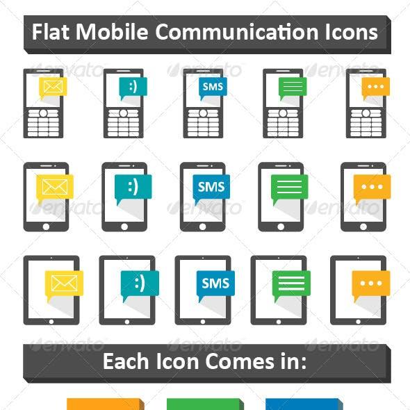 Flat Mobile Communication Icons