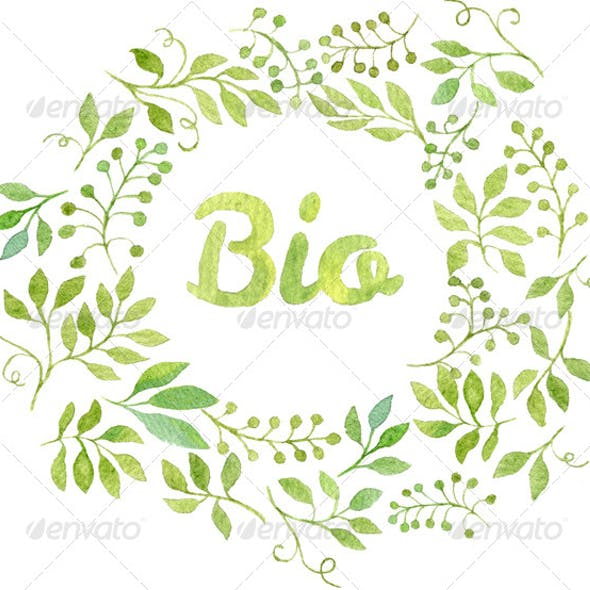 "Word ""Bio"" in Watercolor Leaves Wreath"