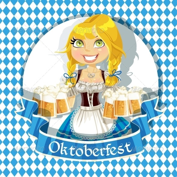 Blond with a Glass of Beer - People Characters