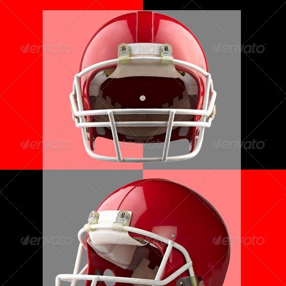 Two Red American Football Helmet