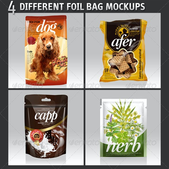 4 Different Foil Bags Packaging Mockups