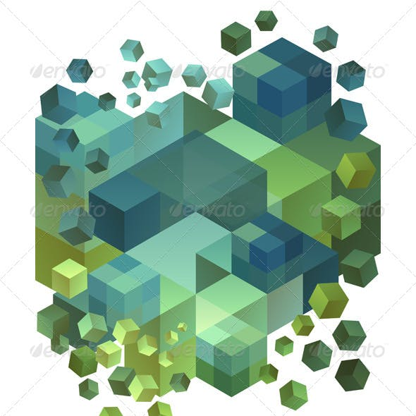 Abstract 3D Cubes Vector Background